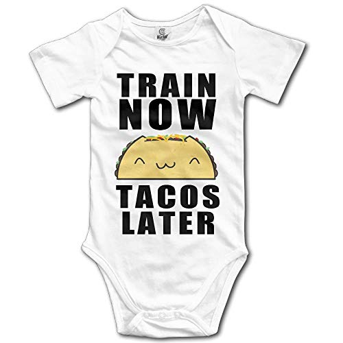 Train Now Tacos Later Newborn Babys Short Sleeve Jumpsuit Outfits White