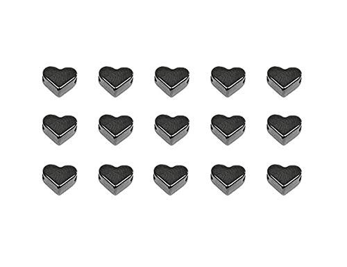 Sadingo Herzperlen DQ Metall - 15 Stück - 6 mm - Horizontales Reihloch - Schmuck selber Machen -Großpackung Großhandel, Auswahl:Silbergrau