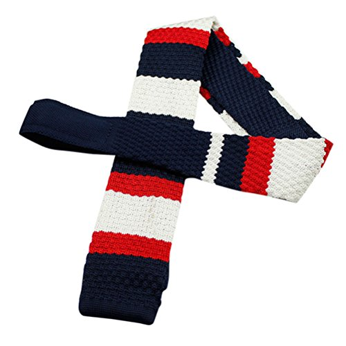 Zhhlinyuan Corbata Hombre roja blanca Multicolores Moda Clasica Knit Ties Skinny Slim Flat Necktie for Men for Husband - Graduation Gift Multi Patterned