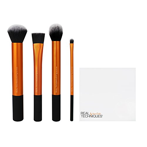 Real Techniques Flawless Base Makeup Brush Set for foundation, concealer and contouring (Packaging and Handle Colour May Vary)