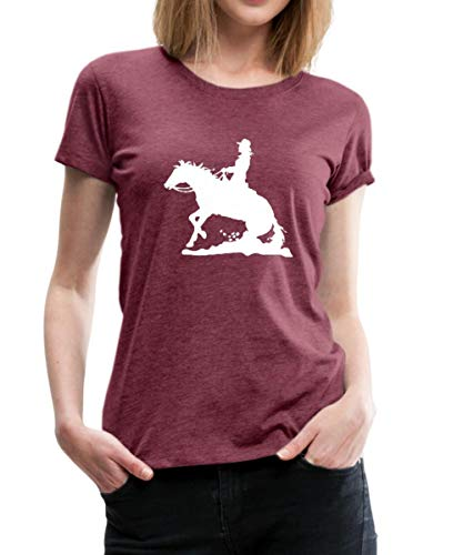 Spreadshirt Reiten Western Lady Westernreiten Frauen Premium T-Shirt, L (40), Bordeauxrot meliert - Western Frauen-shirt