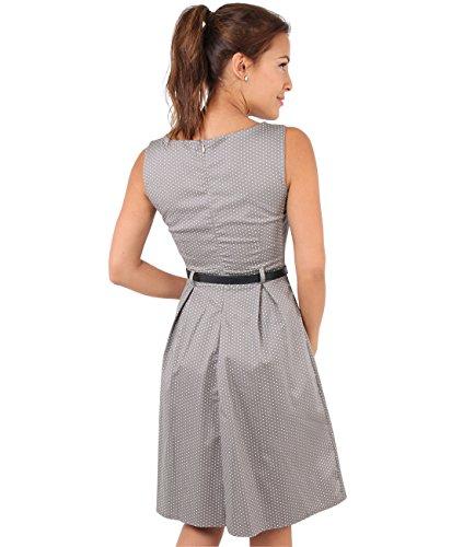 KRISP Damen Vintage Kleid Gepunktet_(7045-MOC-14) -