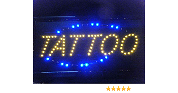 Brand New Metal Tattoo Shop Flashing Led Sign With Viewing Window Küche Haushalt