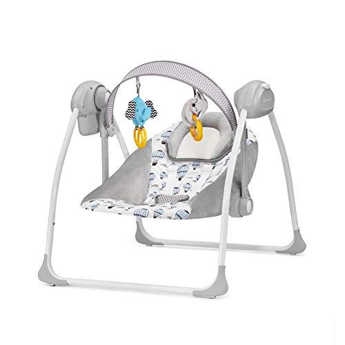 *Kinderkraft Babywippe FLO 2in1 Babyschaukel Wippe Schaukelwippe mit Vibration Spielbogen Spielzeuge verstellbare Rückenlehne Klappbar 8 Melodien von Geburt an Minze*