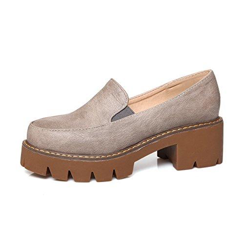 AllhqFashion Damen Rund Zehe Mittler Absatz Weiches Material Rein Ziehen Auf Pumps Schuhe Grau
