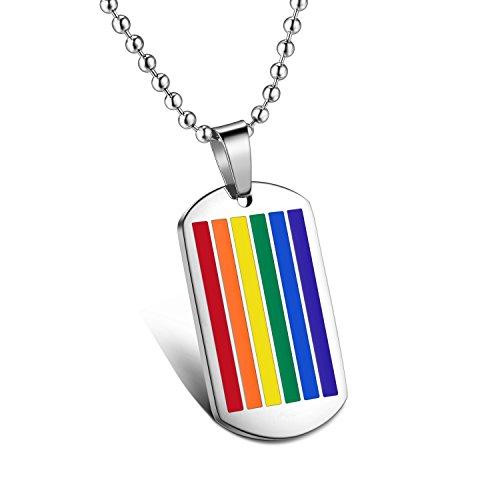 M. JVisun Colorful Rainbow Fashion in acciaio inox ciondolo collana + catena, argento, lunghezza 21,6