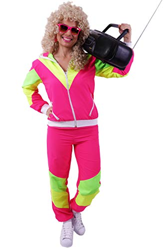 FetteParty1A - 80-er 90-er Jahre Erwachsenenkostüm, Deluxe Trainingsanzug - Jogginganzug, Jacke und Hose ,Mehrfarbig Pink/Gelb/Grün Mottoparty Karneval JGA - 80er Jahre Kostüm Für Gruppen