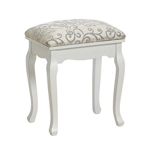 Élégante tabourets rembourré de style baroque | tabouret pour table de maquillage ou piano, blanc