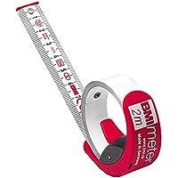 BMI 429341021 Ruban à mesurer avec frein/clip de ceinture, Rouge/Blanc, 3 m x 16 mm