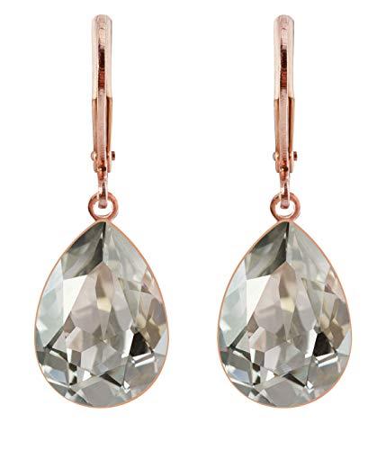 petra kupfer Damen Ohrringe Ohrhänger Tropfen Anhänger 1 Swarovski®-Kristall Transparent Silver Shade Rose Gold Vergoldet rdh1-rg-silver-shade -