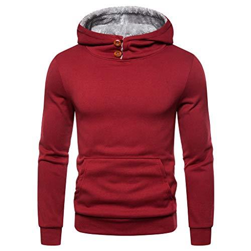 UINGKID Chaude Sweat à Capuche Homme Peluche Doublure Col Debout Pull Manche Longues Sweatshirts à Capuche Hoodie pour Automne Hiver M-3XL