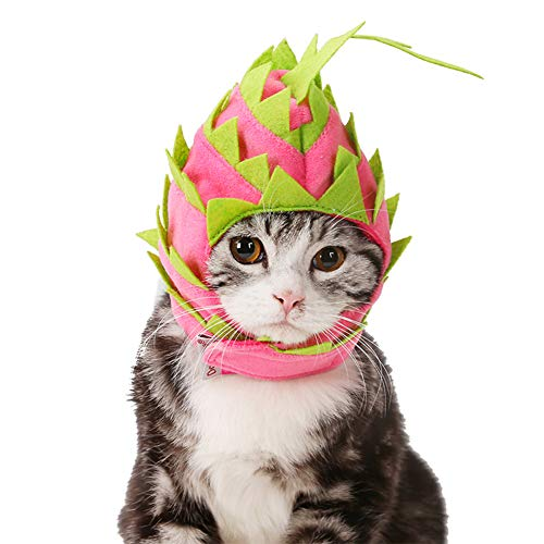 Cuteboom 2019 Hundemütze, Katze, Drache, Obst, mit Kapuze, atmungsaktiv, für Hunde und Geburtstag, Neck11~16.5