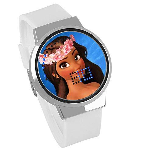 Moana Maui Ocean Romance Touch Led Uhr @Weißes Armband Silber C