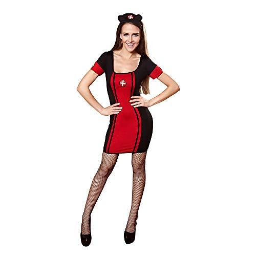 AFYH Halloween Krankenschwester Overall, Damen Kostüm Rollenspiel Erwachsene Partei, Hochwertige Polyester-Material, Schwarz Rot,M (Rote Krankenschwester Kostüm)
