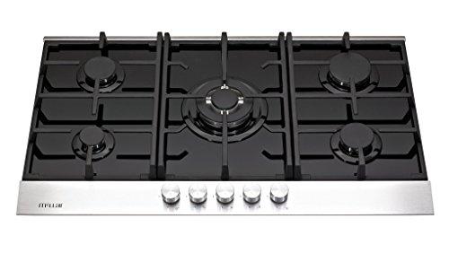 Millar - GH9051TDB - Table de cuisson au gaz, en verre, 5 plaques, 90 cm