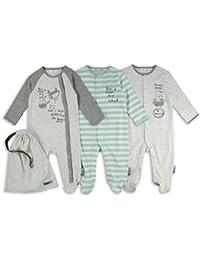 The Essential One - Baby-Jungen - Eule und Fuchs Schlafanzuge - (3-er Pack mit Beutel) - Grün / Grau - ESS185