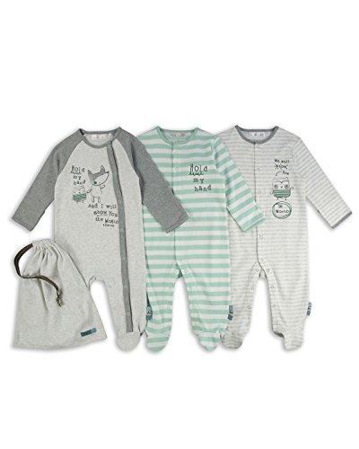 The Essential One – Bebé niños – Búho y Zorro Pijamas – Paquete de 3 – Verde / Gris – ESS185