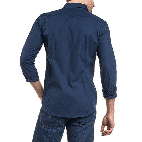 Salsa - Chemise unie avec broderie - Homme Bleu Marine