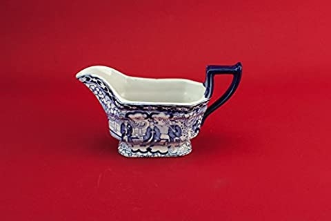 Charming Pottery GRAVY BOAT Figures Adams Dinner Retro Blue And White Vintage Serving Medium Dish Gift English 1930s