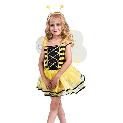 Tier Liebe Kostüm Linie - Happyyami 3pcs Mädchen Biene Kostüm Set Honigbiene Fee Haarreif Tutu Rock mit Flügel Kinder Tier Cosplay Party Outfit Dekoration Set für Halloween Kinderparty (Größe M)
