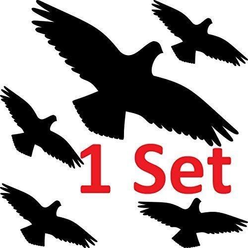 GreenIT Warnvogel Set Vogel Vögel Warnvögel Silhouette Aufkleber die Cut Tattoo Fenster Schutz gegen Vogelschlag Deko Folie (1 Set schwarz)