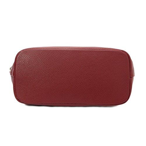 Sabrina - Borsa donna a spalla da donna -in vera pelle - 100% Made in Italy Firenze - Dimensioni:30-43x29x14.5 cm (LxHxL) - EdgeModaStyle Bordeaux