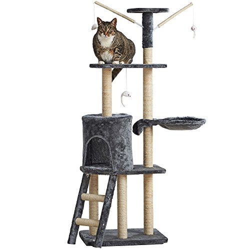 Milo & Misty 3 Platform Cat Tree Scratching Post Activity Centre - Kitten Furniture Playhouse with Sisal Covered Scratching Posts & Dangling Mice Toys - Grey