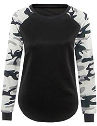 Anywa Camiseta mujer de manga larga blusa ocasional camiseta de las tapas Ejercito Verde