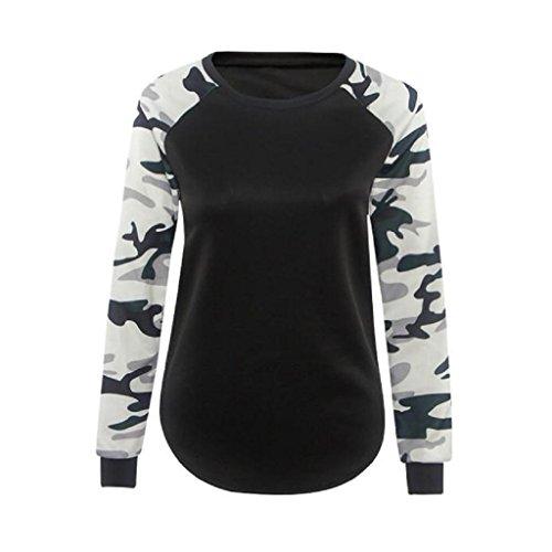 Ineternet Hauts de Camouflage femmes manches longues chemise Polyester Blouse Casual (M, Noir) Ineternet