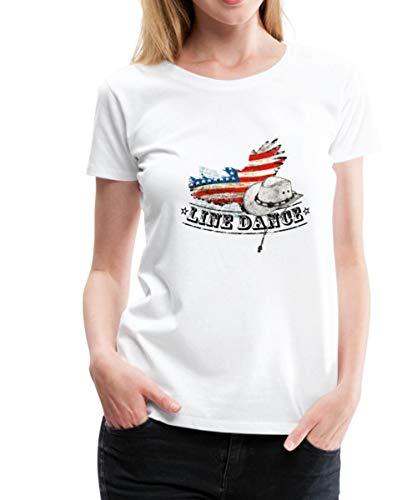 Spreadshirt Line Dance Cowboyhut USA Flagge Tanz Frauen Premium T-Shirt, XXL (44), Weiß (Mädchen Größe 1 Cowboy Stiefel)