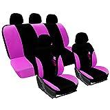 WOLTU AS7287 Universal Schonbezug Schonbezüge für Auto Sitzbezug Auflage Schutz Schoner, Blumen Stickerei, schwarz-pink
