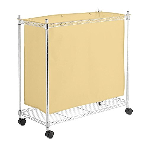 Chrom Rädern Wäschesammler New Leinwand Wäschekorb BIN Bag Trolley H750mm, W700 x D350 (Chrom-wheel-farbe)