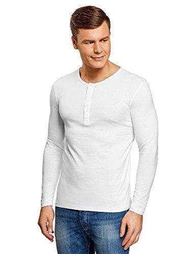 Baumwoll Jersey Henley (oodji Ultra Herren Tagless Henley-Langarmshirt, Weiß, DE 56/XL)