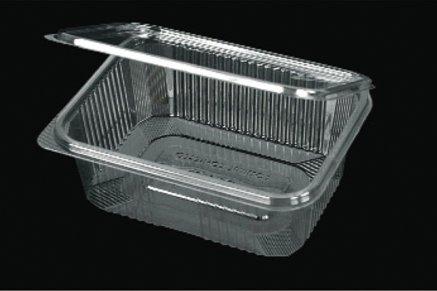 Vaschette rettangolari in PET - mm. 186x142x58 - Codice B2 CC. 1000 - Confezione da 50 contenitori trasparenti richiudibili con coperchio unito - Vaschette monouso con chiusura incernierata ed ermetica