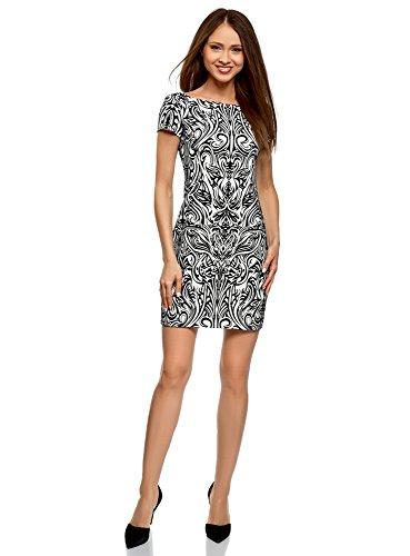 oodji Ultra Damen Jersey-Kleid mit Flock-Druck, Weiß, DE 34 / EU 36 / XS