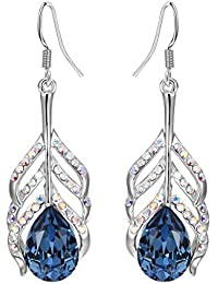 Yellow Chimes Crystals from Swarovski Krishna Peacock Feather Blue Crystal Earringst for Women and Girls