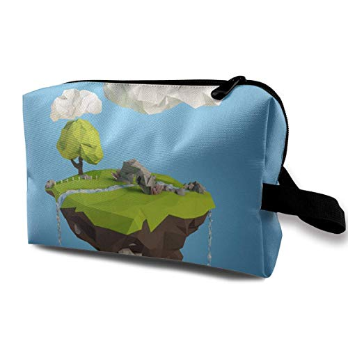 With Wristlet Cosmetic Bags Floating Island And Clouds Travel Portable Makeup Bag Zipper Wallet Hangbag -