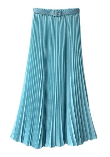Honeystore Damen's Korean Chiffon Boho Plissee Retro Midi Rock-elastischen Bund Tanz-Kleid Faltenrock Blaugrün One Size (Schuhe Phat Baby Damen)