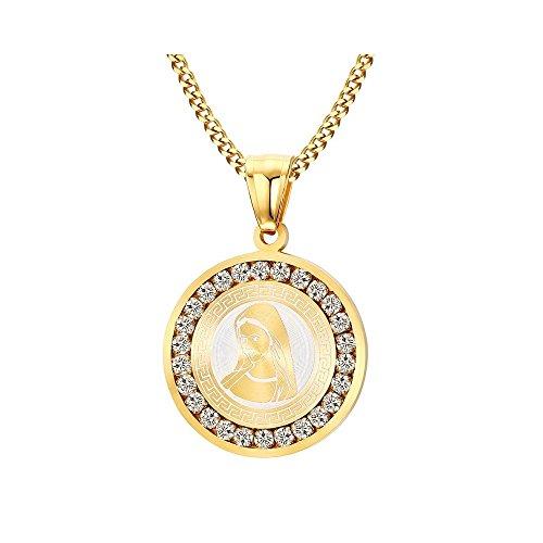BOBIJOO Jewelry - Colgante Medalla De La Virgen María Dorada Oro Mujer De Imitación De Diamantes De La Cadena Incluida