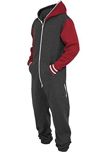 URBAN CLASSICS Herren College Sweat Jumpsuit TB629 charcoal/ruby XS/S - College Anzüge Sweat