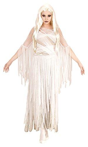 Widmann 04051 - Erwachsenenkostüm Geister Lady, Kleid, S, weiß, Größe S, weiß