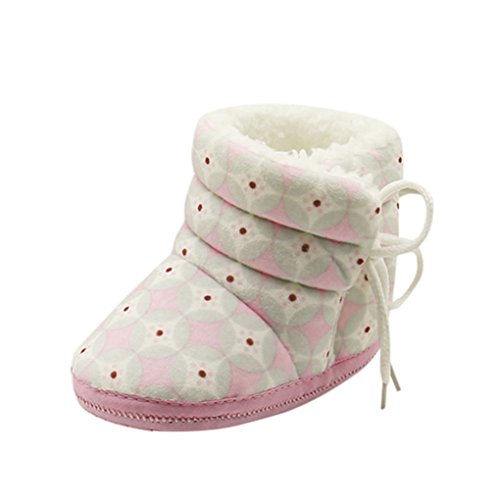 Vovotrade Newborn Baby Heart Lint Print Boots Soft Sole Boots Prewalker Warm Shoes (one size, Rosa)