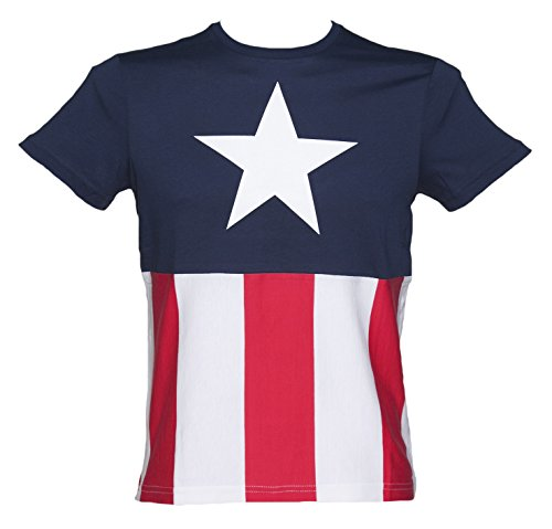 Marvel Capitán América disfraz para hombre T-Shirt azul azul marino Small