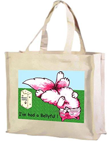Ho avuto un Bellyful Cartoon Cat Tote-Borsa della spesa in cotone (crema)