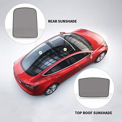 BougeRV for Tesla Model 3 Glass Roof Sunshade Mesh Sunroof Rear Window Sunshade UV Protection Sun Visor Compatible for Tesla Model 3 (2 of Set) (Roof & Rear) (View Amazon Detail Page)