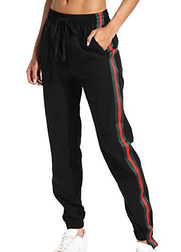 ge Trainingshose Sport Jogging Hose Sweatpants mit Reißverschlusstasche Streifen (Rot & Grün) M ()