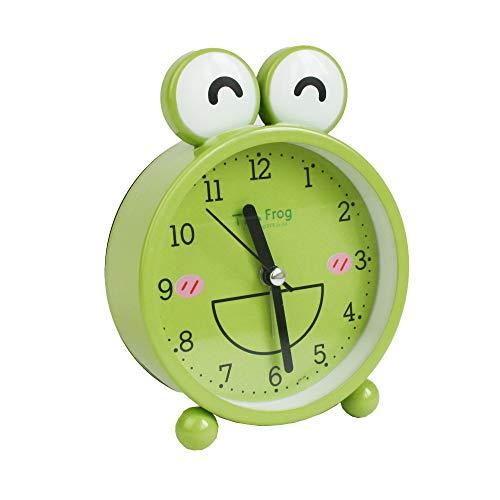 emartbuy 3 Zoll Nicht Tickt Nachttisch Quarz Wecker, Batteriebetrieben Reiseuhr, Runde Und Wecker - Grüne Frösche Augen Geschlossen