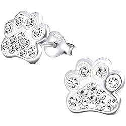 Katy Craig - Pendientes con forma de huellas de perro fabricados con plata de ley y cristales