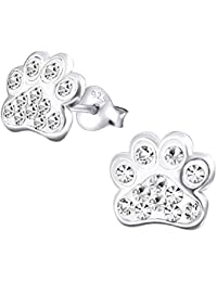 Dog Paw Print Earrings - Sterling Silver with Crystal Stones
