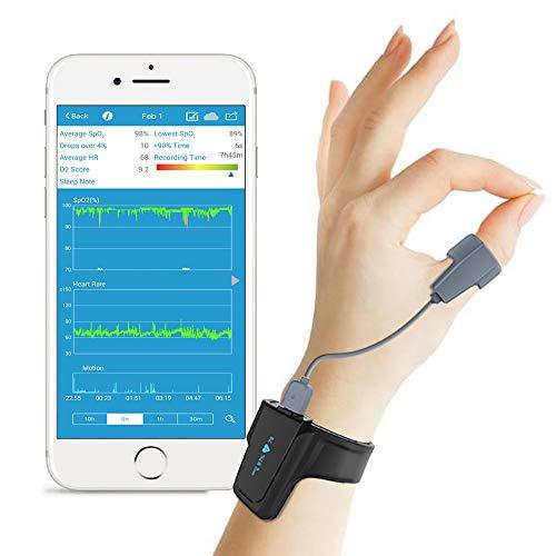 Viatom Sleep Oxygen Monitor mit Vibration Alarm für Schnarchen und Schlafapnoe, Bluetooth Handgelenk Pulsoximeter Nachverfolgung SpO2 über Nacht, Anti-Schnarch Partner für CPAP Maschine